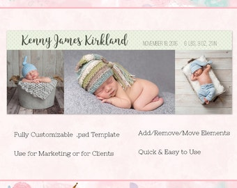 Baby/Birth Announcement Facebook Cover/Timeline, Photoshop Template, INSTANT DOWNLOAD