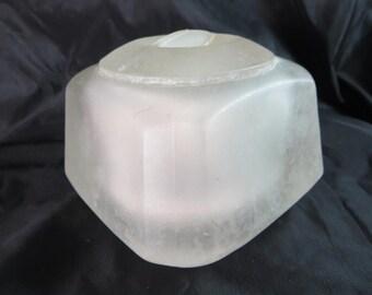 SALE! Art Deco Powder Jar, French Heavy Chunky Frosted Alabaster Glass Powder Puff Toilet Jar 1920s-30s
