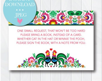 Mexican Roosters Book Request Card, Book instead of Card for Baby, Fiesta Baby Shower, Mexican Floral Embroidery Pattern, Printable