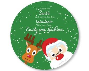 Cookies for Santa Plate - Santa and Rudolph