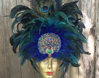 Magnificent Blue Feathered Peacock Headdress