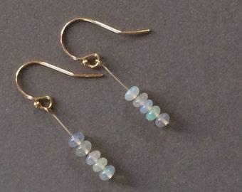 AAA Grade Welo Opal and Gold Filled Dangle Earrings