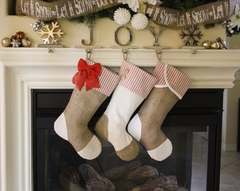 Set of Three (3) Christmas Stockings with Burlap and Red Ticking Accents