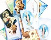 lot religious paper prayers images cards saint  decoupage craft supplies lot R108