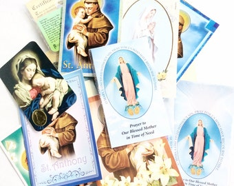 religious paper ephemera prayers images cards saint  decoupage craft supplies lot R108
