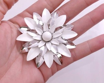 Silver White Flower Pin Signed Sarah Coventry Flower Brooch 1960s 1970s Flower Power Jewelry