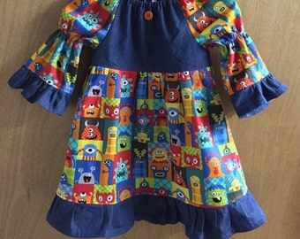 Monster Peasant Dress, size 4t