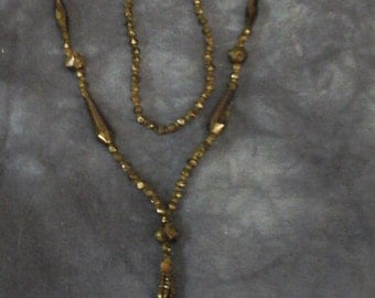 Victorian Edwardian 1800s jet glass tassle bead  necklace downton Abbey