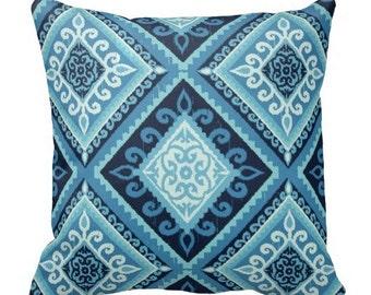 Outdoor Pillows, aqua teal blue indigo OUTDOOR Pillows, Throw Pillows, Blue Patio Pillows, Outdoor Medallion Pillows, Pillow Covers