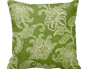 green outdoor pillows, green outdoor pool pillow, floral outdoor pillows, outdoor chair pillow cover, pillow cover for couch, outdoor accent