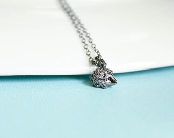 Diamond Encrusted Hedgehog Necklace, Available in Silver, Gold, and Gunmetal