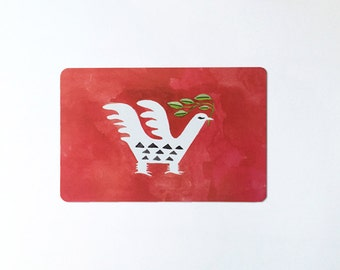 Folk bird red postcard