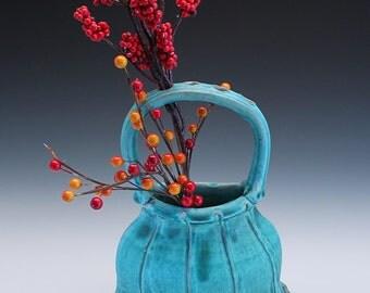 Basket Vase, Turquoise
