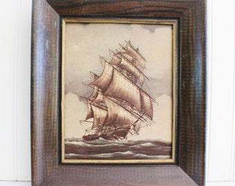 Vintage painting, sail boat, ship, framed oil painting, nautical seascape. art