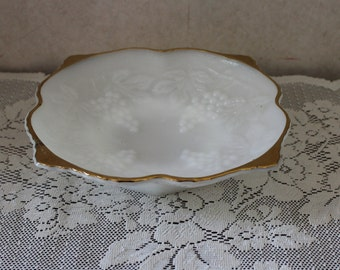 Vintage Anchor Hocking Milk Glass Bowl with Grapes Design and Trimmed in Gold