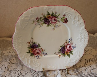 Hammersley Bone China Pink and Purple Flower Cake Plate