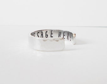 hidden message ring, handstamped aluminium 6mm cuff ring, personalised ring, adjustable ring, open ring, customised ring, mens womens ring