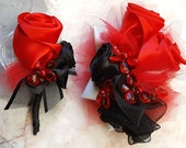 For Kira Custom Prom Flowers Unique Keepsake hand wrapped and beaded ribbon roses wrist corsage and matching boutonniere. Red Black Silver