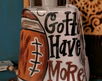 White Football Hand Painted Cowbell