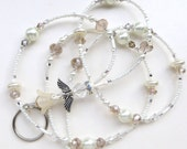 WINTER WHITE ANGEL- Beaded Id Lanyard Badge Holder-Sparkling Crystals, Lucite, and Glass Pearl Beads (Magnetic Clasp)