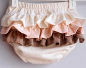 Organic and naturally hand dyed 100% cotton diaper cover with ruffles - Pink combos
