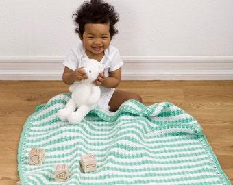 Minty Stripes Baby Blanket - Crochet Pattern