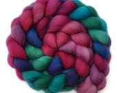 Hand painted roving - Superwash Blue Faced Leicester (BFL) wool top spinning fiber - 4.2 ounces - Vaguely Improper 2