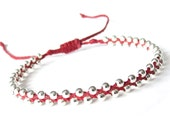 Skinny red and silver bead bracelet, braided Irish waxed linen cord bracelet for layering, jewellery gift for teens, MirasBeadBoutique