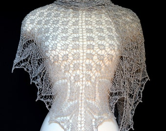 HANDKNIT Beaded Lace WEDDING SHAWL In Silver Pale Light Grey Gift For Her Wrap Stole Bridal Elegant Opera Evening Theater Holiday Wear