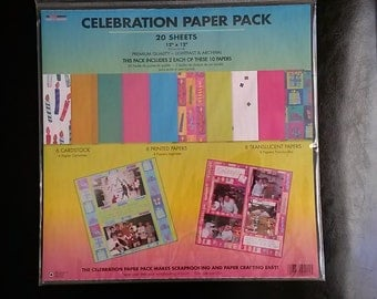 "One Lot of (6) CELEBRATION PAPER PACK(20 sheets in each pack) 12""x12"" Lots of Colors New/Sealed"