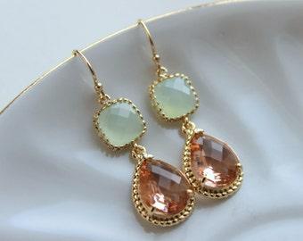 Blush Champagne Earrings Soft Mint Green Gold Earrings - Peach Pink Bridesmaid Earrings Wedding Earrings -Wedding Jewelry Bridesmaid Jewelry