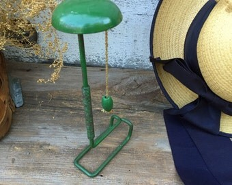 Green Metal Bendable Hat Stand with Pull Cord and Spring - Vintage Hat Stand - Metal Hat Display