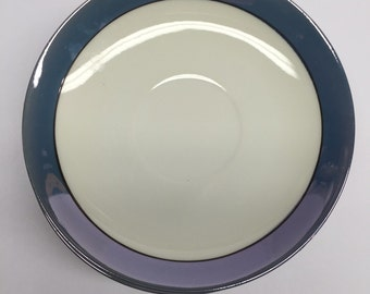 Unmarked Lusterware Japan Art Deco 1930's Saucer White and Blue 5.25""