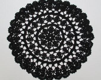 Crocheted Doily-Black-11.5 Inch Diameter