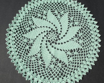 "Crocheted Doily - Mint Green Spiral Doily - 11"" inch Diameter"