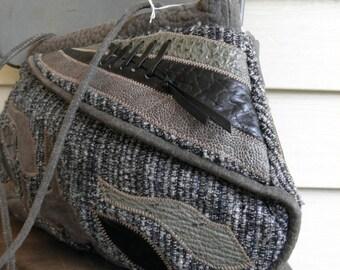 Vintage Gray Patchwork Multicolor Tweed Suede & Leather Cross Body Shoulder Hippie Handbag Purse Oversized Clutch Color Block Herringbone