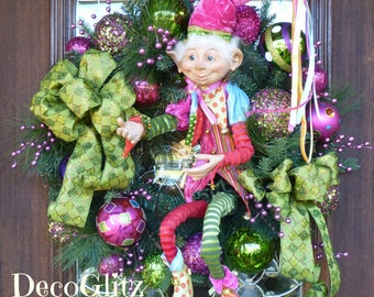 WHIMSICAL Christmas ELF WREATH with Beautiful Pink and Green Colors