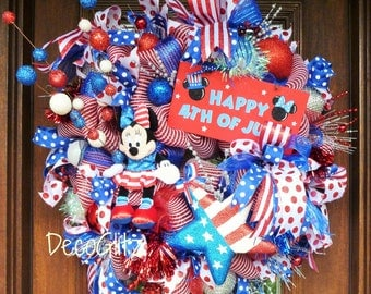 MINNIE MOUSE PATRIOTIC Wreath