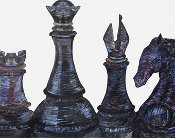 Chess -Metal, Wood, Canvas Print