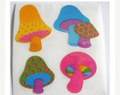 ON SALE Rare Vintage Sandylion Pearl Finish Psychedelic Rainbow Mushrooms Stickers - 80's Opal Collectable Scrapbook