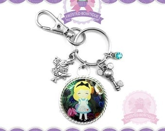 Alice in the Garden of Live Flowers Key Chain - Keychain Purse Charm