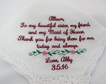 Wedding Handkerchief embroidered for the Sister of the Bride