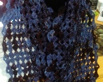 Short  wool blend scarf brown and blue