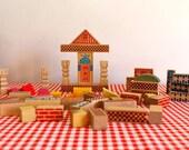 vintage 1950s wooden toy - VILLAGE wooden building blocks / 56pc lot