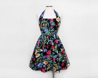 Floral Halter Dress. Open Back Dress. 50s Style Dress. Vintage Cocktail Dress. Swing Dress. Rockabilly Dress. Full Skirt. Large.