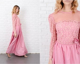 Pink Lace Dress Vintage 70s Mesh Floral Lace Maxi Full Bow Medium M 8260