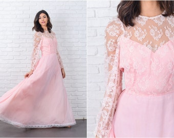 Vintage 70s Pink Boho Hippie Dress Sweetheart Lace Maxi Puff Slv Small S 7086 vintage dress pink dress boho dress lace dress maxi dress