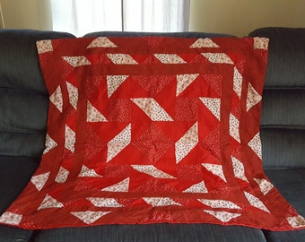 Hand sewn blanket, throw, lap quilt in red colors, OOAK