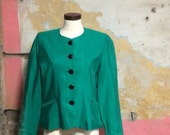1980s Liberty of London Emerald Green Evening Jacket UK 12, US 8, EU 40