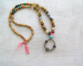 Boho Beaded Hoop Necklace, Antique Silver Charm & Gemstone Pastel Necklace, Agate Wood Colorful Modern long Layered Necklace, Hippie Jewelry